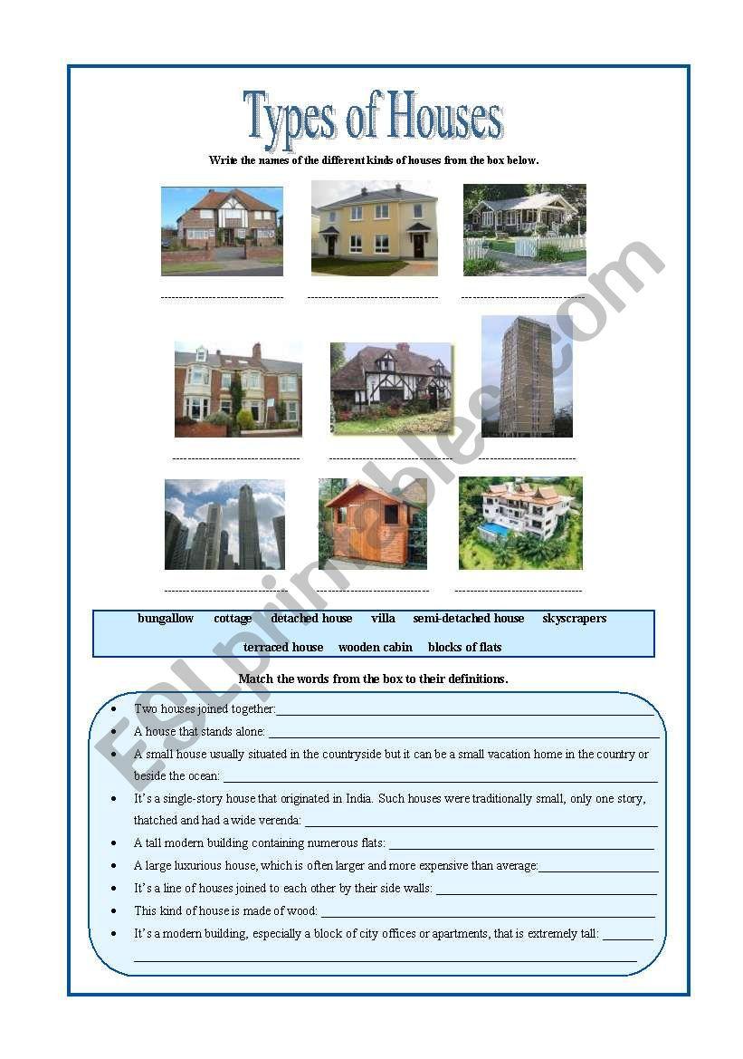 Types of Houses worksheet