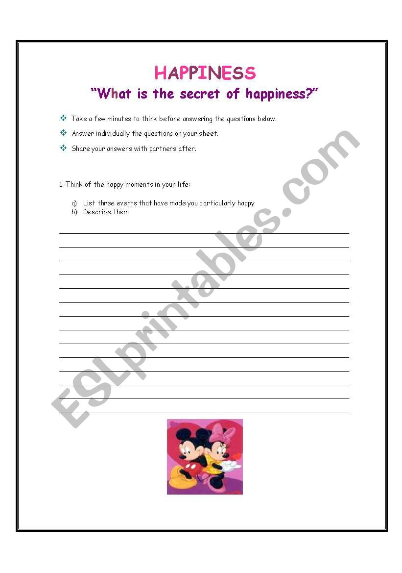 English Worksheets Happiness