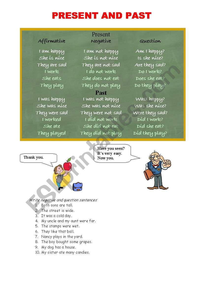 Simple Present & Past Chart worksheet