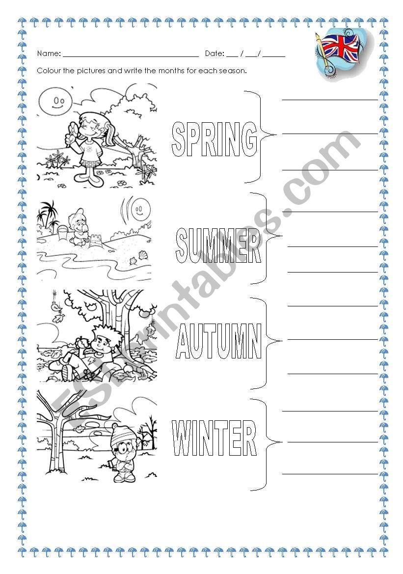 seasons and months worksheet
