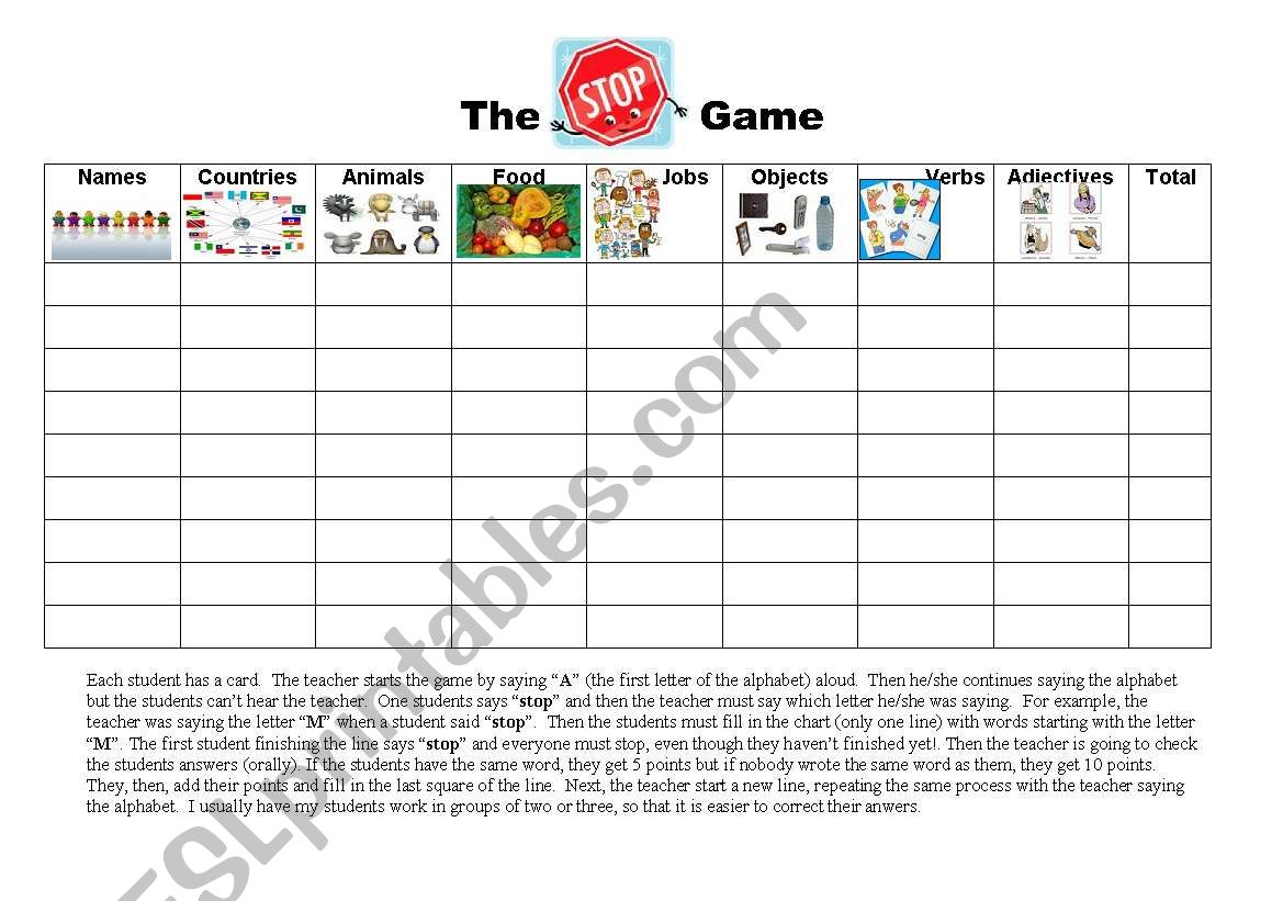 the stop game worksheet