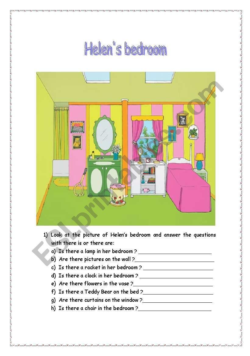 Helen´s bedroom worksheet