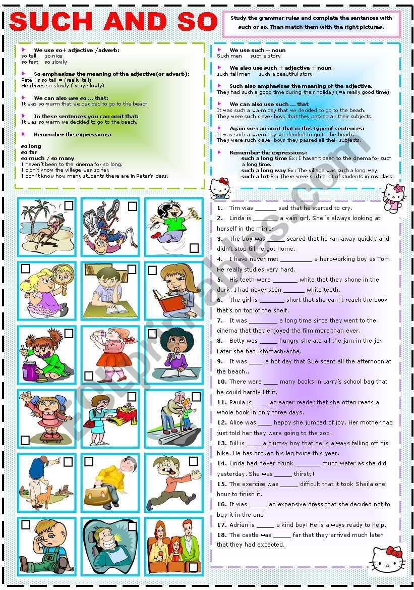 SUCH AND SO worksheet