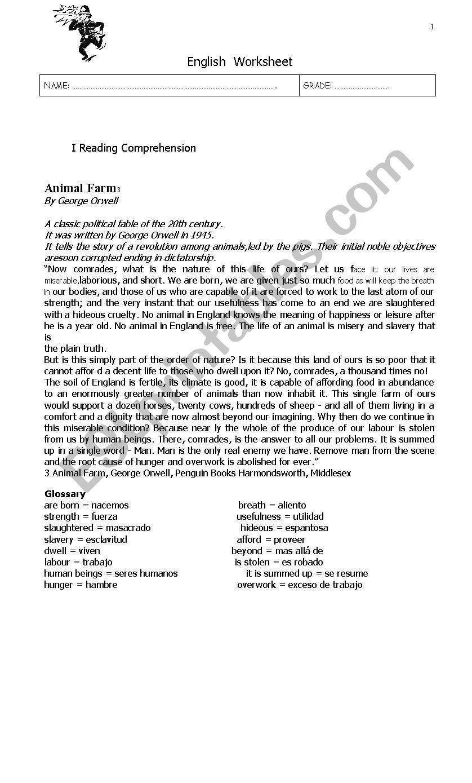 Animal Farm worksheet