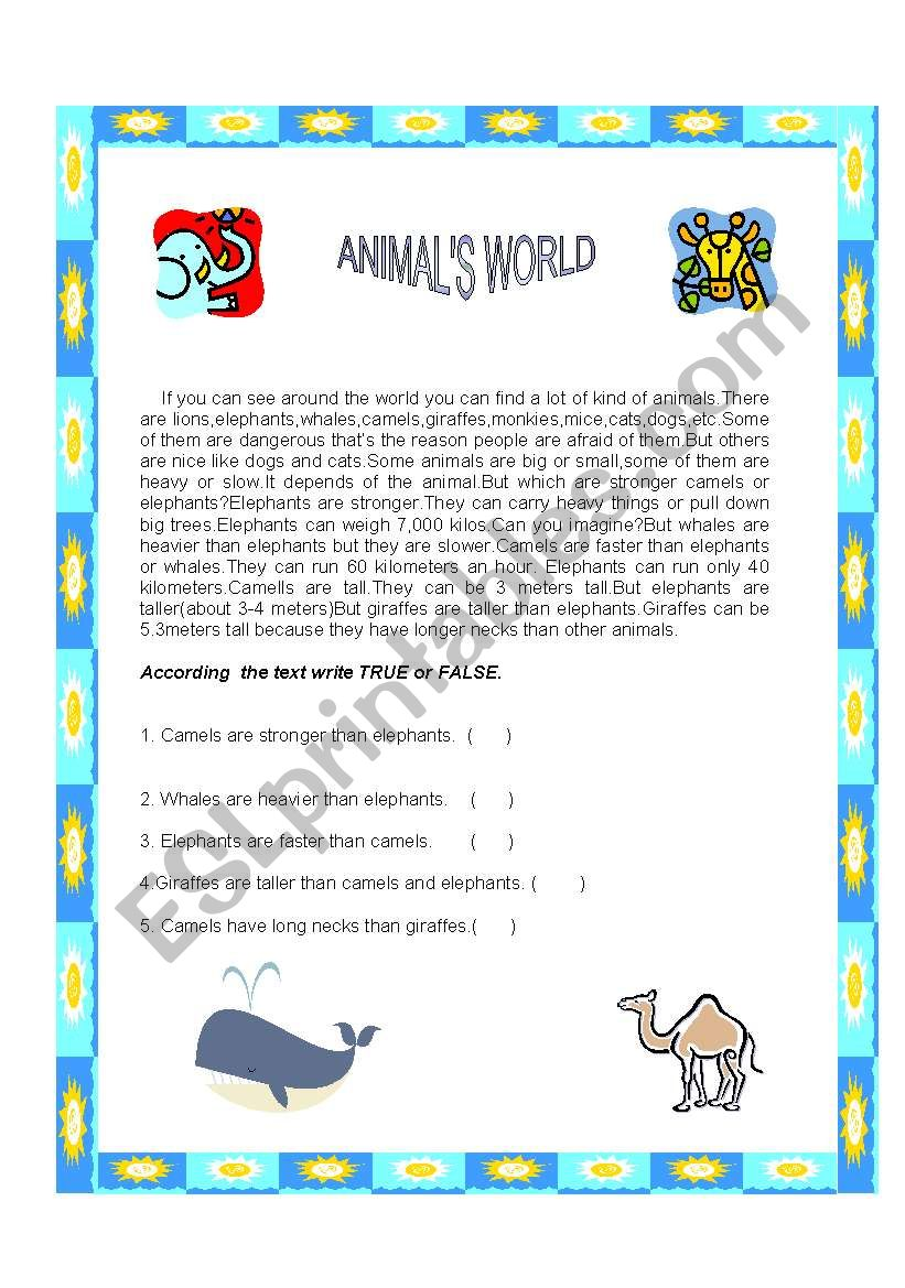 ANIMALS WORLD worksheet