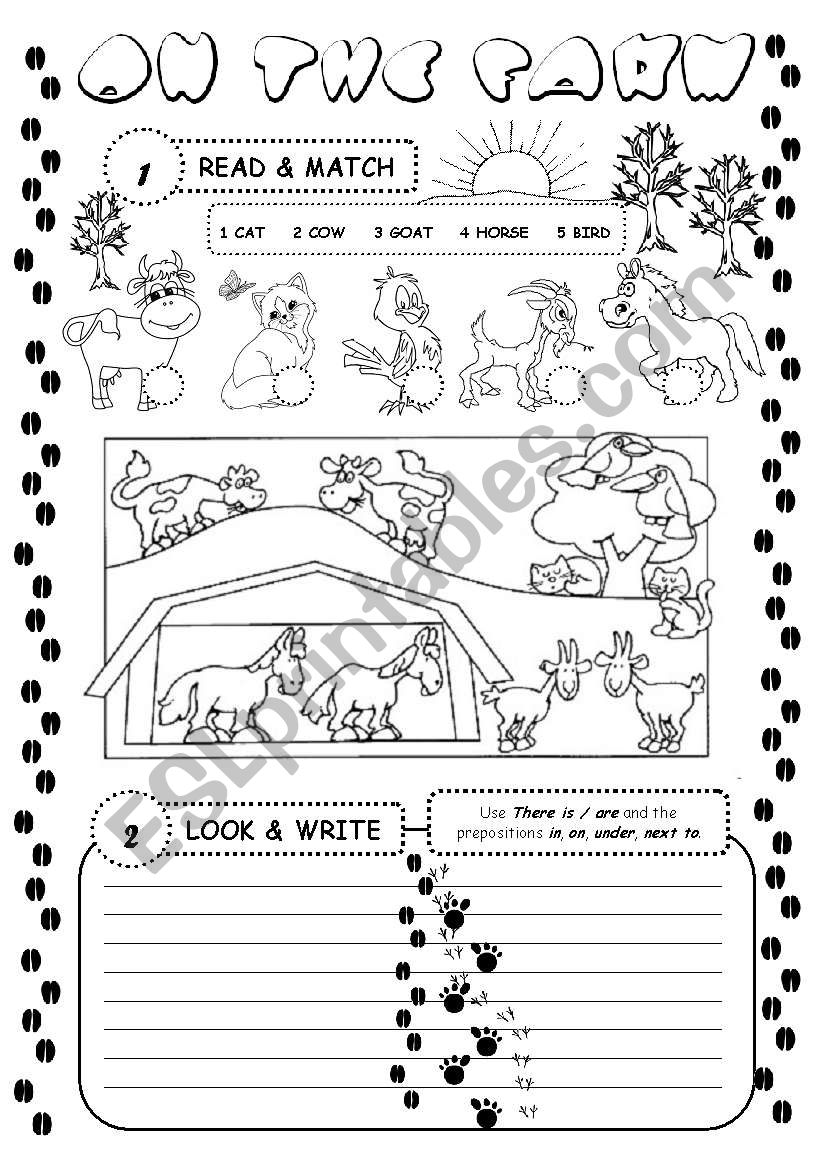 On the farm (there is / are) worksheet