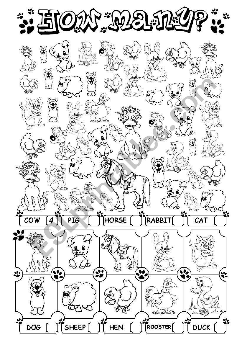 How many? (+ farm animals) worksheet