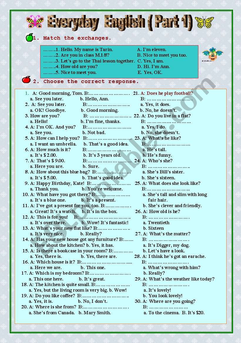 Everyday English ( Part 1) worksheet