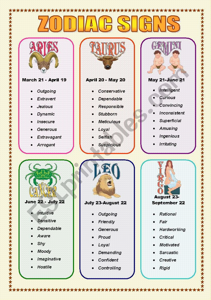 Zodiac Signs and Adjectives - Speaking (3  sheets)