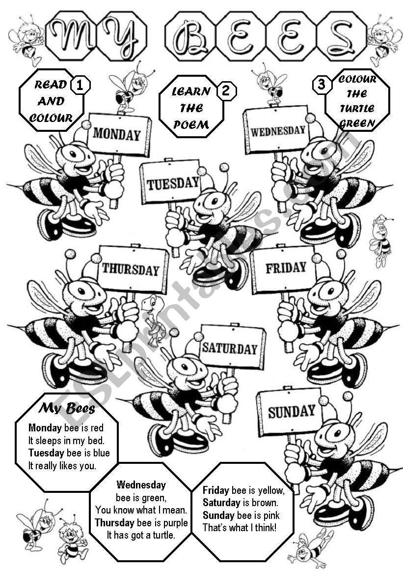 My bees (Days of the week) worksheet