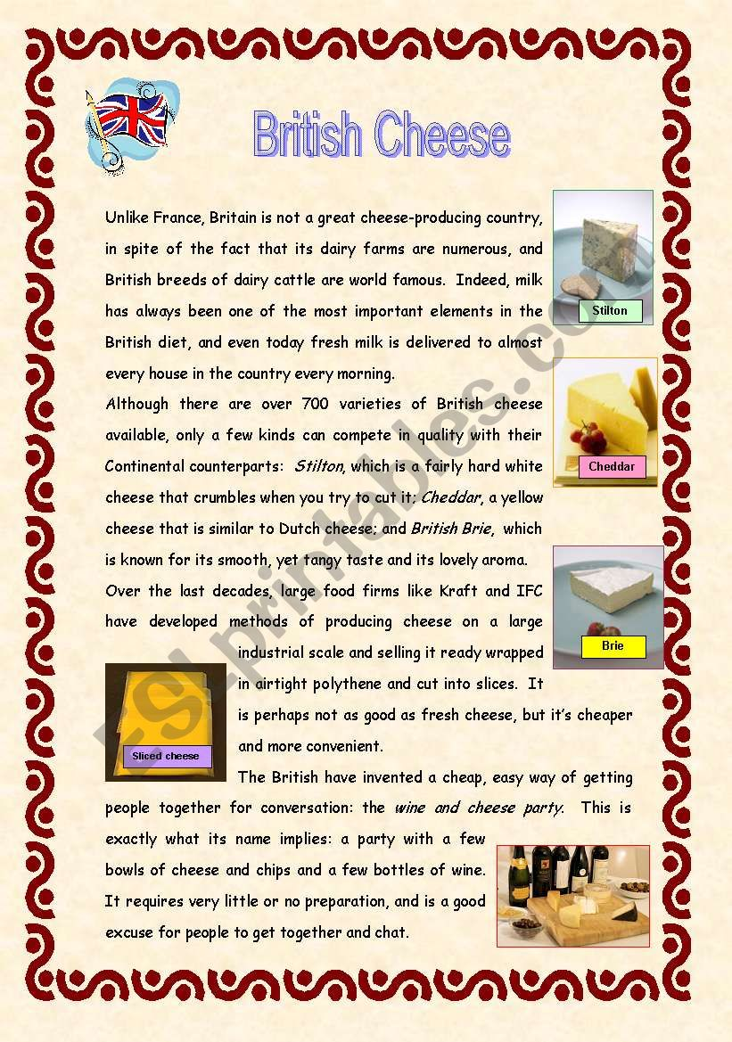 British Cheese: Reading and Vocabulary - 2 pages + key ...