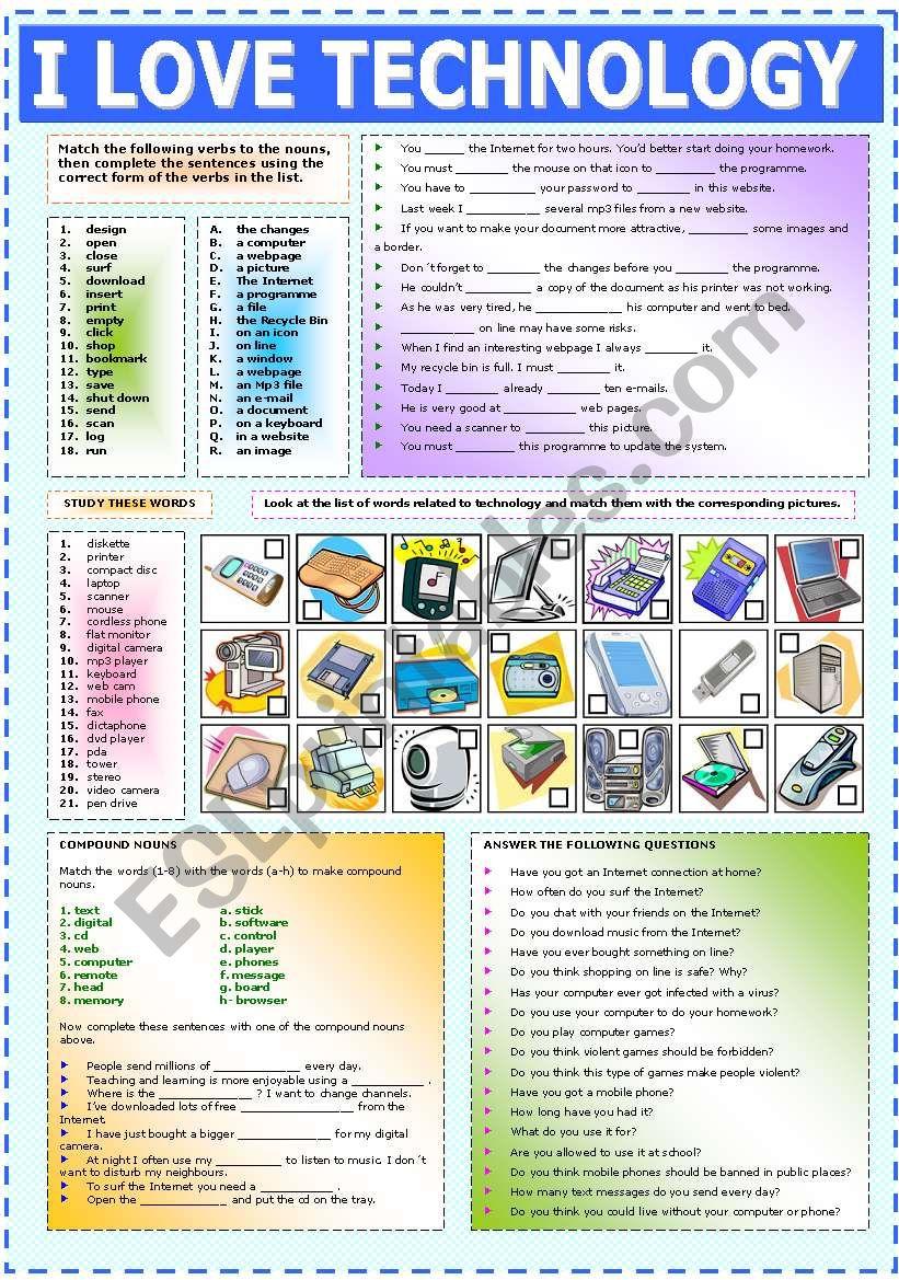 I LOVE TECHNOLOGY worksheet