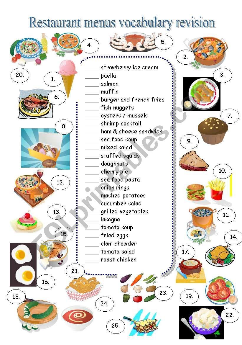 RESTAURANT MENU - vocabulary revision