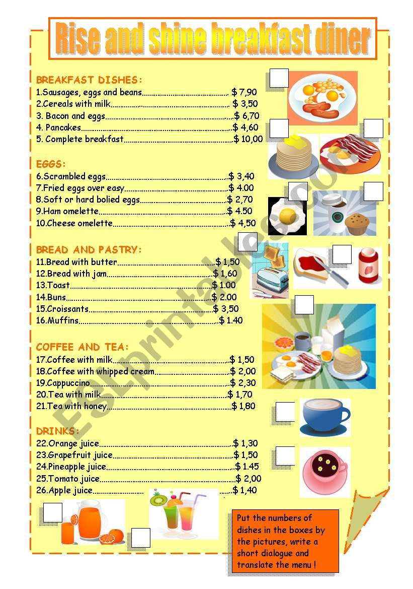 BREAKFAST MENU worksheet
