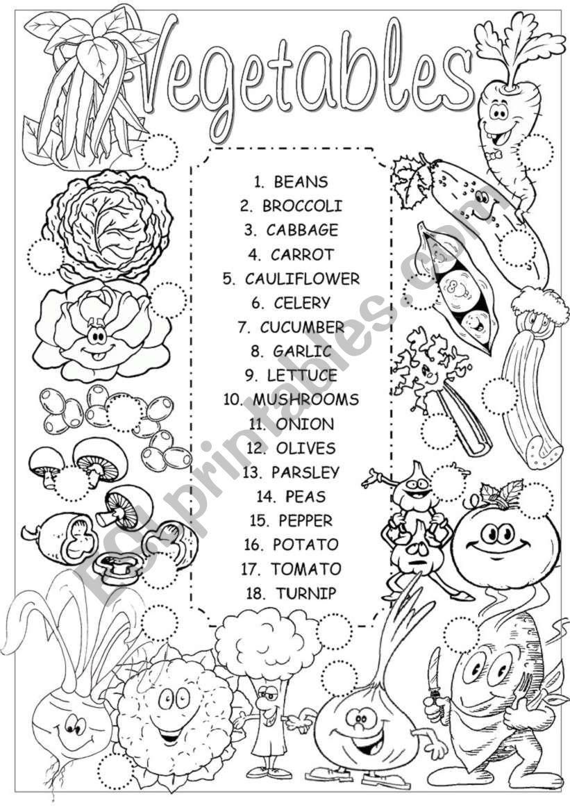 Vegetables pictionary worksheet