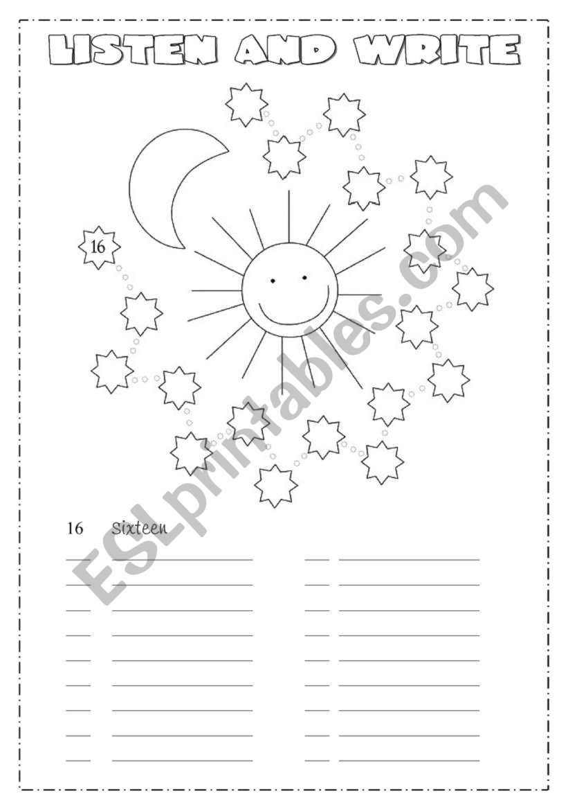 Numbers from 1 - 100 worksheet