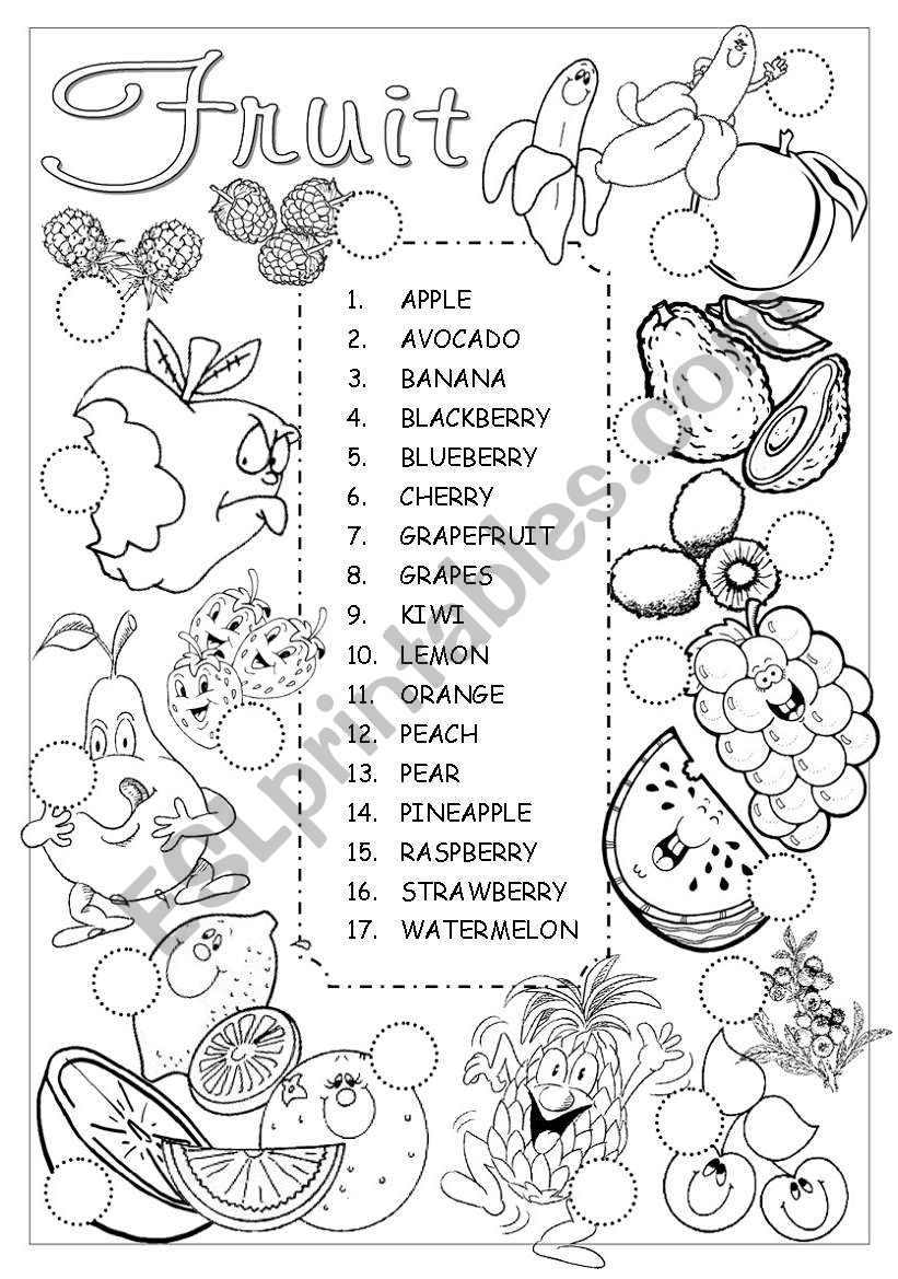 Fruit Pictionary worksheet