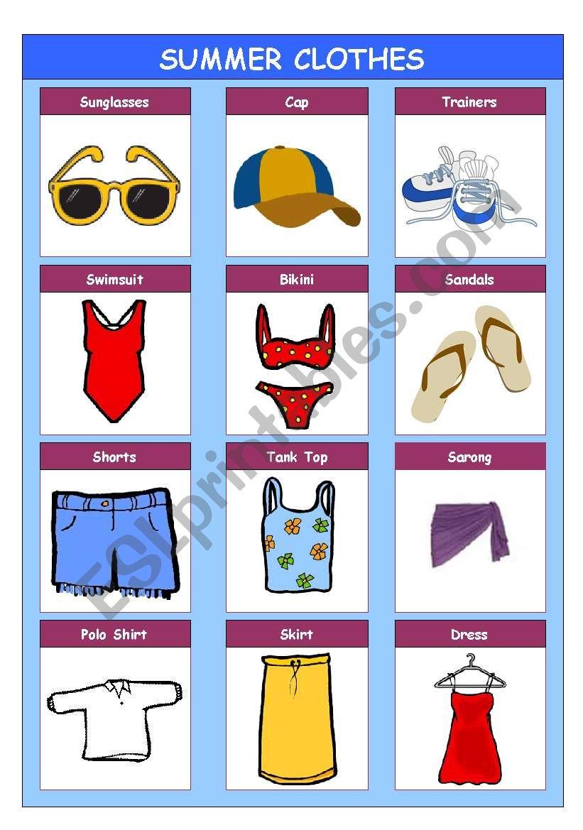 Summer Clothes worksheet