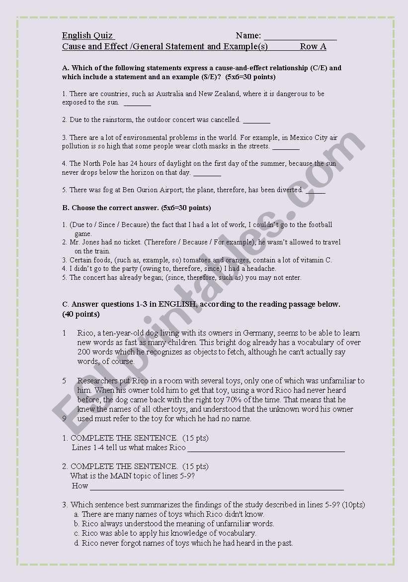 Reading trategies worksheet