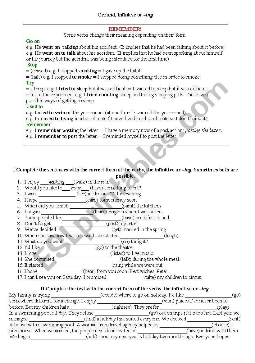 Gerund, infinitve, ing form worksheet
