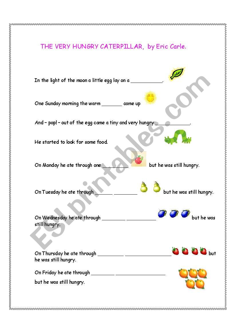 The Very Hungry Caterpillar Fill-in-the-gaps story (1of 2)