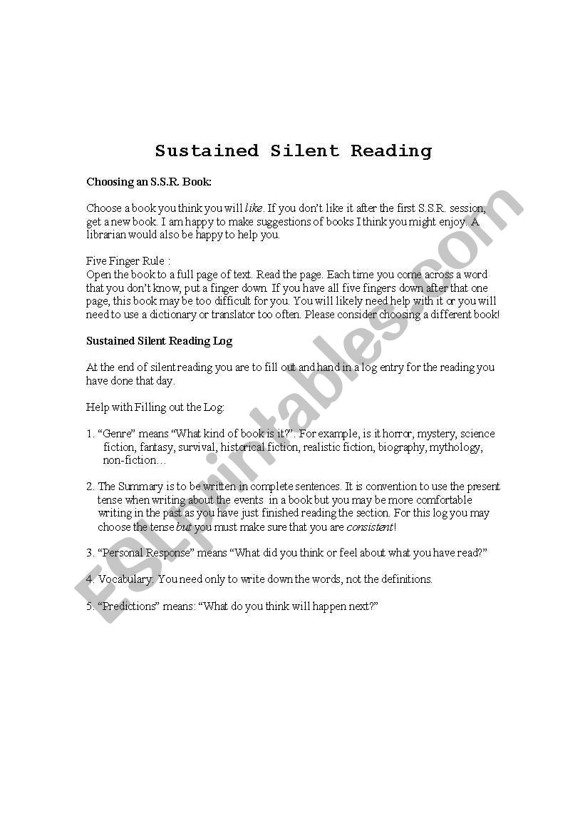 Sustained Silent Reading Log worksheet