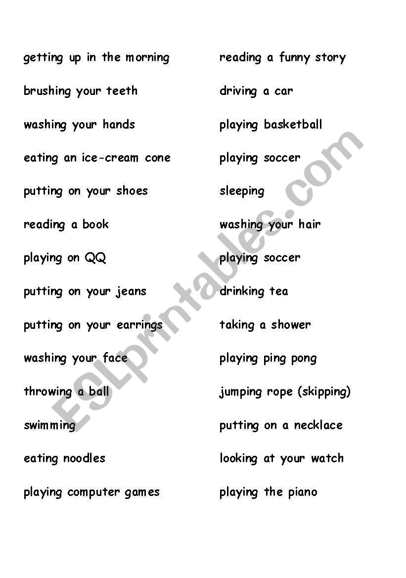 Charades List  worksheet