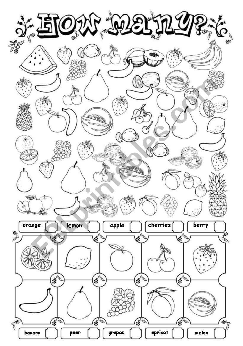 How many? (fruit) worksheet