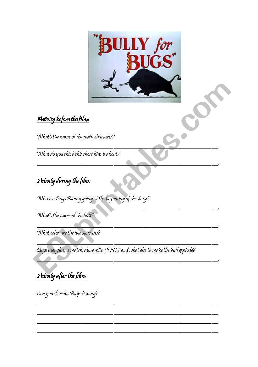 Bully for Bugs (film activity)