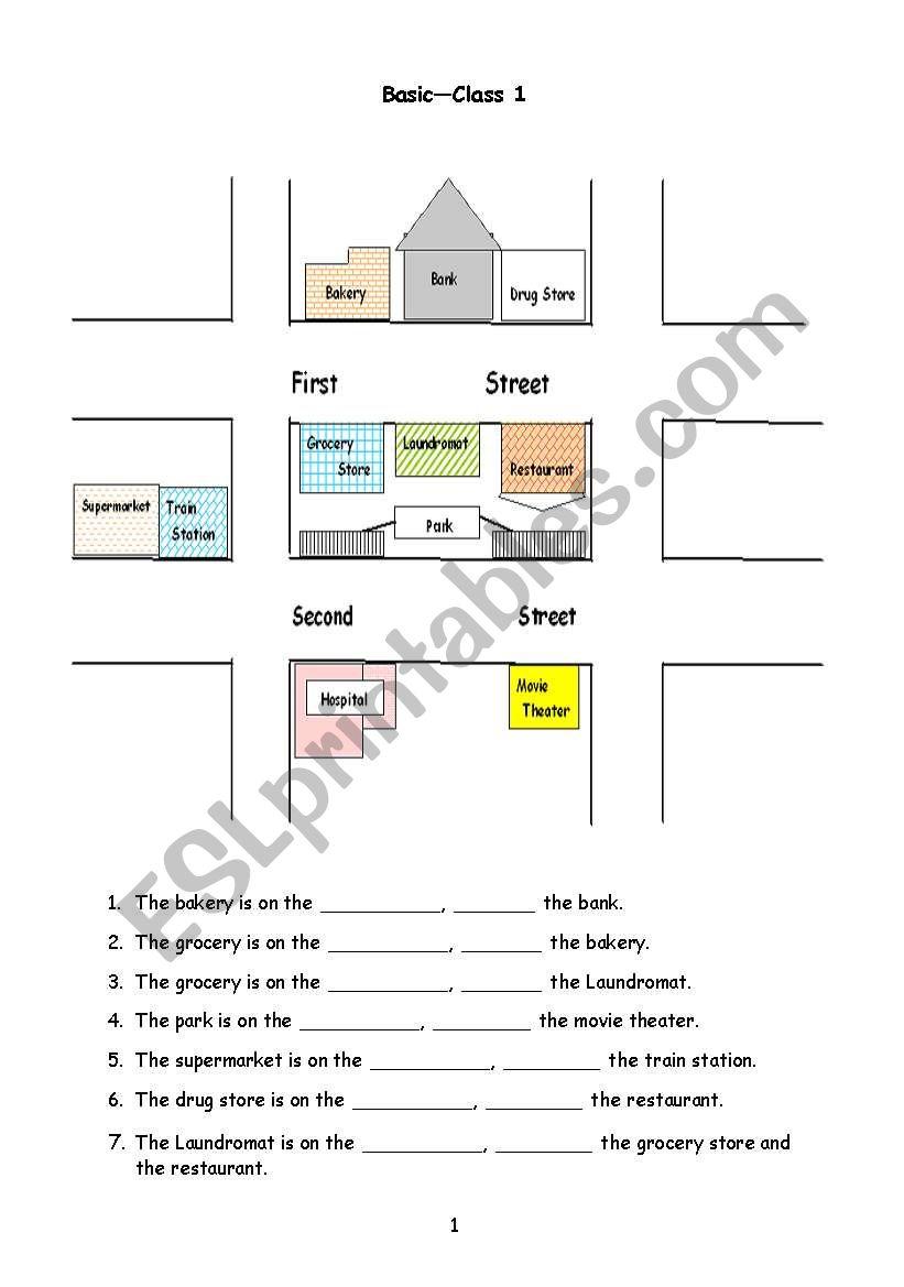 giving directions esl worksheet by christineyez. Black Bedroom Furniture Sets. Home Design Ideas