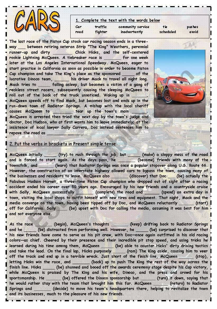 CARS I - CLOZE, PRESENT SIMPLE, READING COMPREHENSION, WRITING