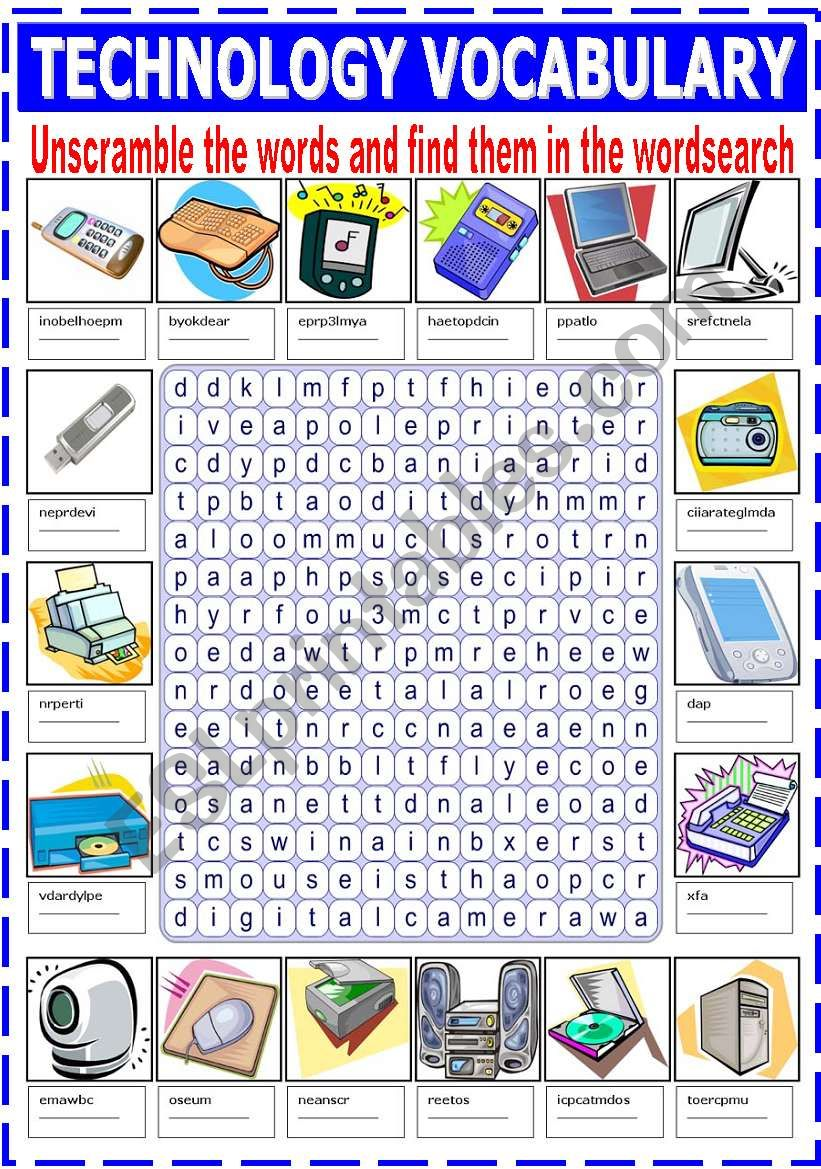 unscramble vocabulary technology worksheets word worksheet wordsearch sentences grammar order esl english preview
