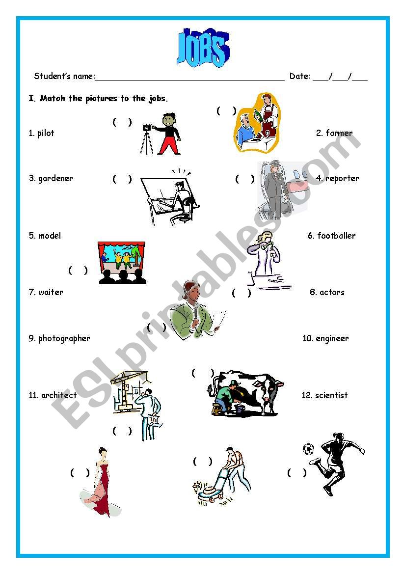 Jobs Matching - ESL worksheet by bamarcia