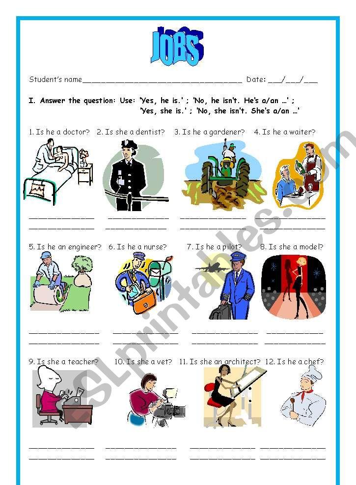 Jobs + Verb to be worksheet