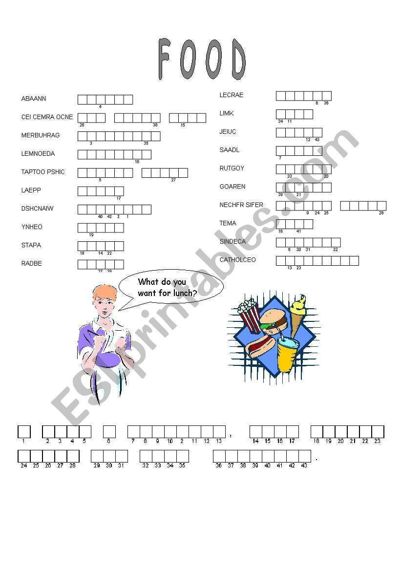 Food puzzle worksheet