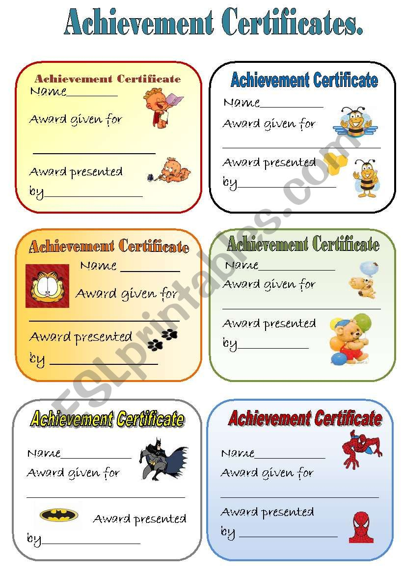 ACHIEVEMENT CERTIFICATES  for young learners  Part 1