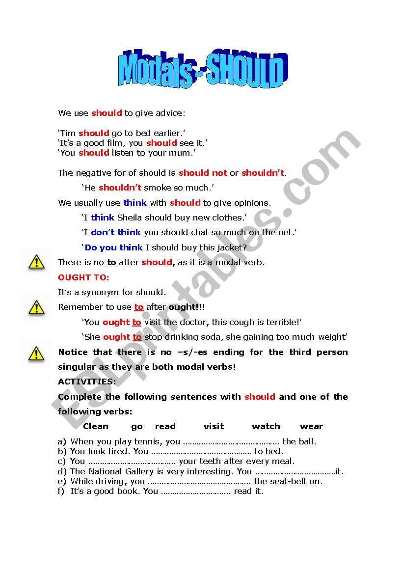 SHOULD worksheet