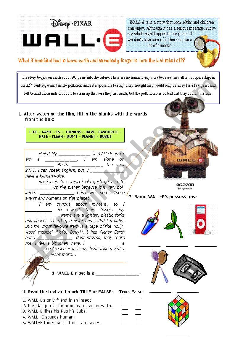 WALL-E - The movie worksheet