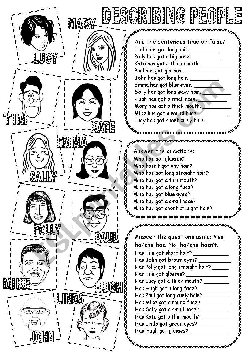 DESCRIBING PEOPLE (2)  worksheet