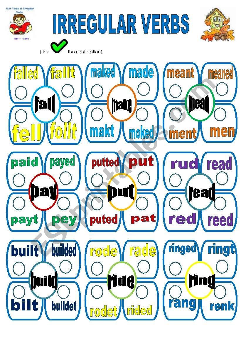 irregular verbs-d worksheet
