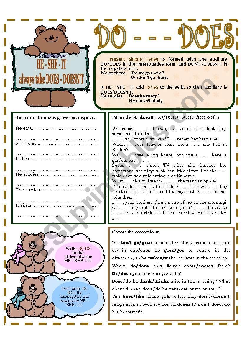 DO - - - DOES worksheet