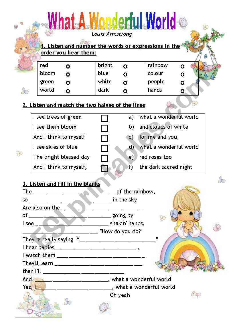 What a Wonderful World worksheet