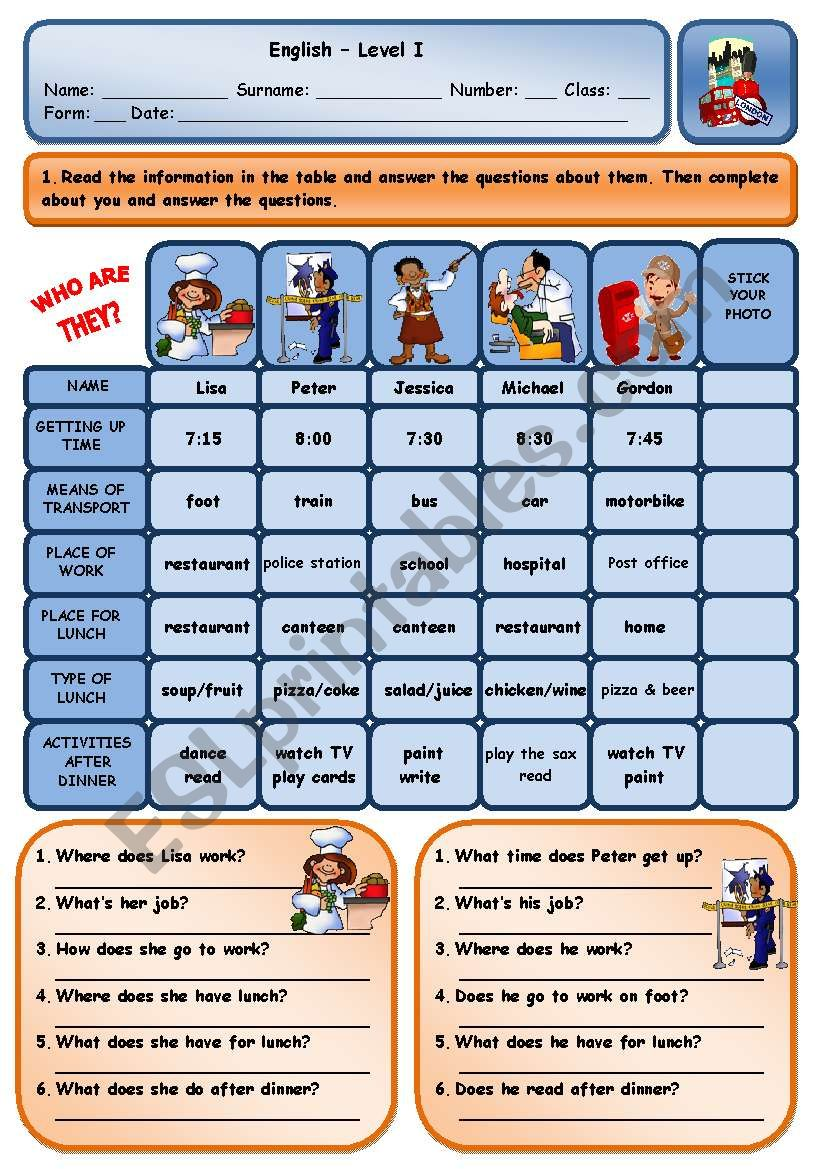 TALKING ABOUT ROUTINES worksheet