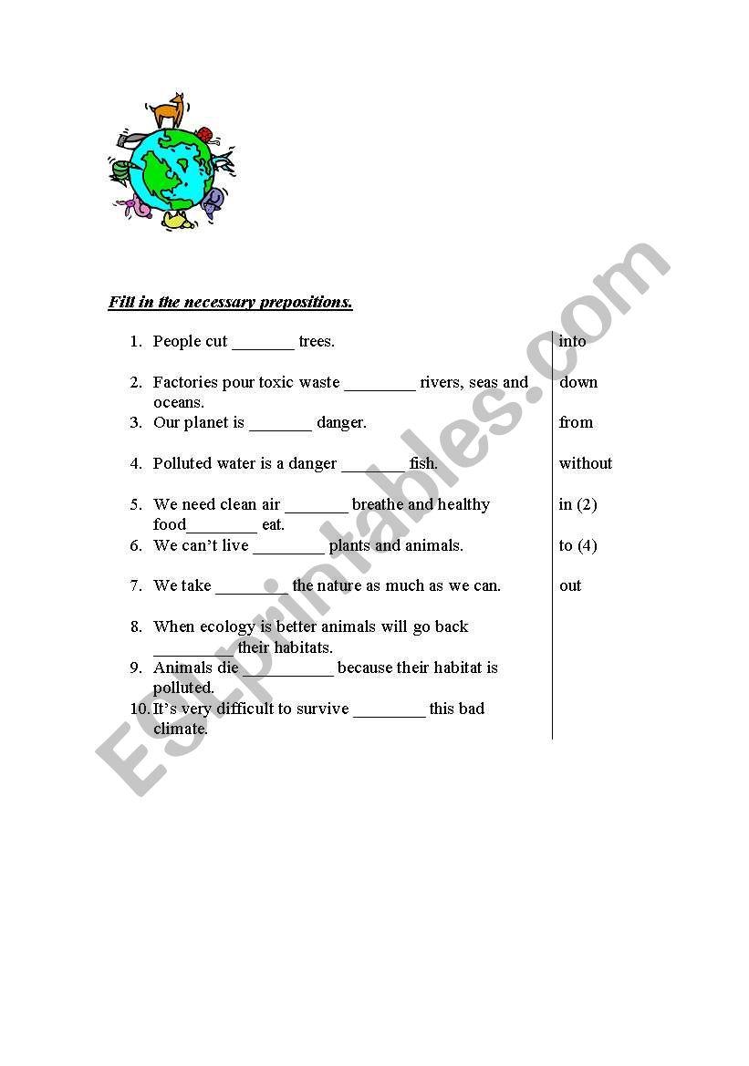 Ecology prepositions worksheet