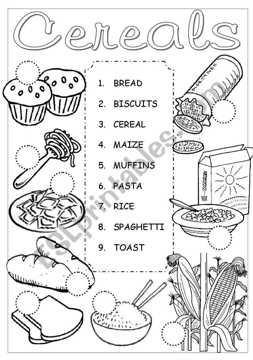 Cereals Pictionary worksheet