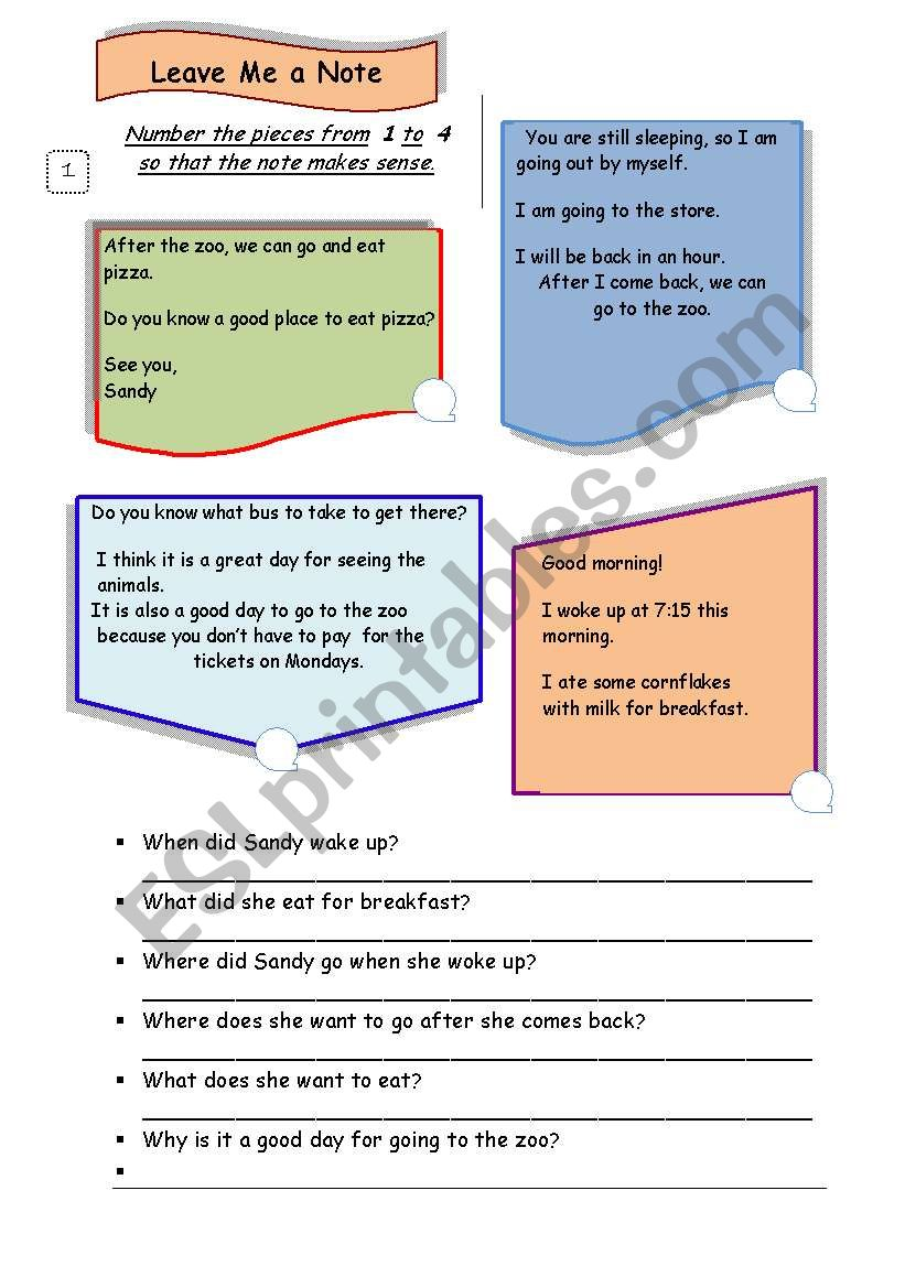 Reading Comprehension / Guided Writing Task-Thank you note/3