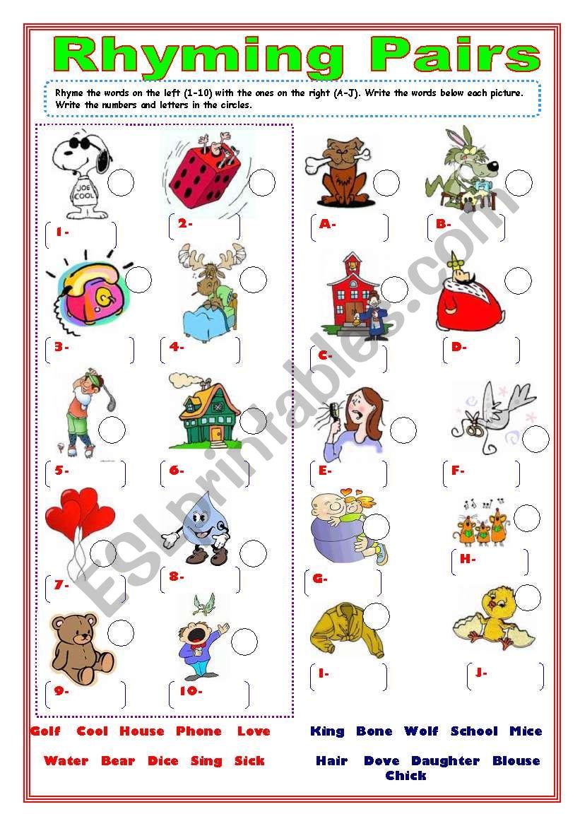 Rhyming pairs- mixed words worksheet
