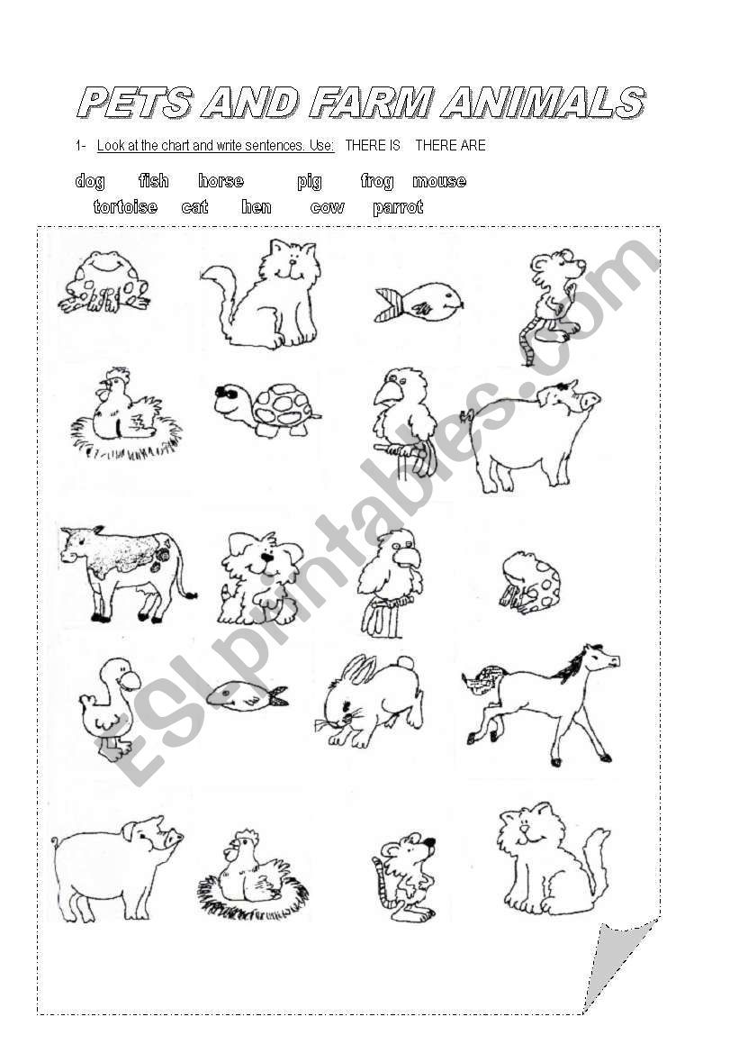 PETS AND FARM ANIMALS worksheet