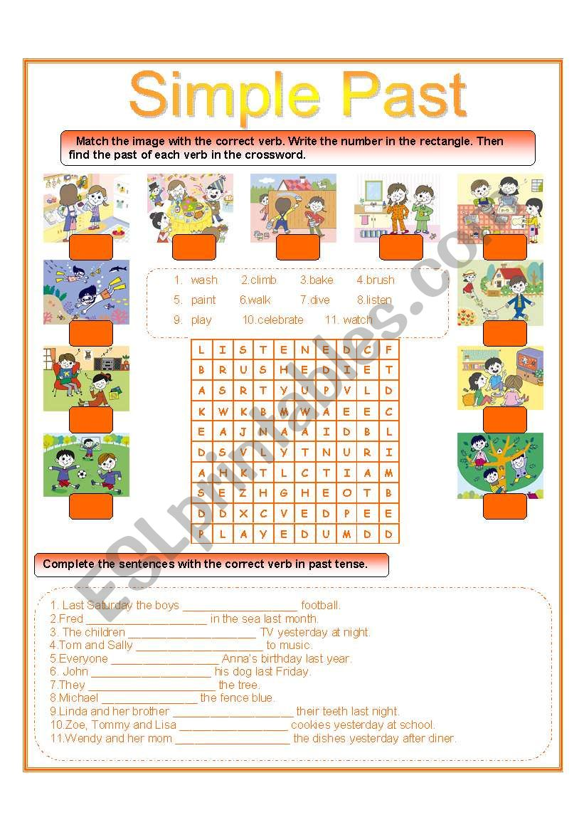 simple past wordsearch and matching exercise