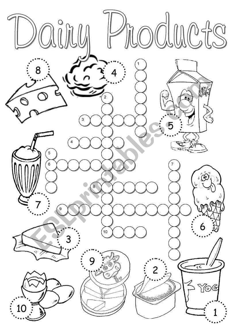 Dairy Products Crossword worksheet